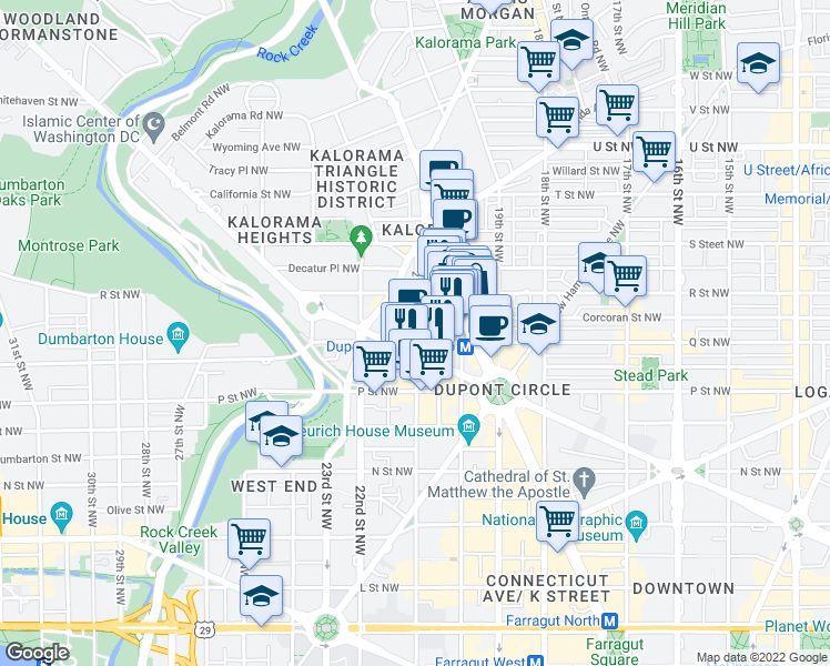 map of restaurants, bars, coffee shops, grocery stores, and more near 1600 21st St NW in Washington
