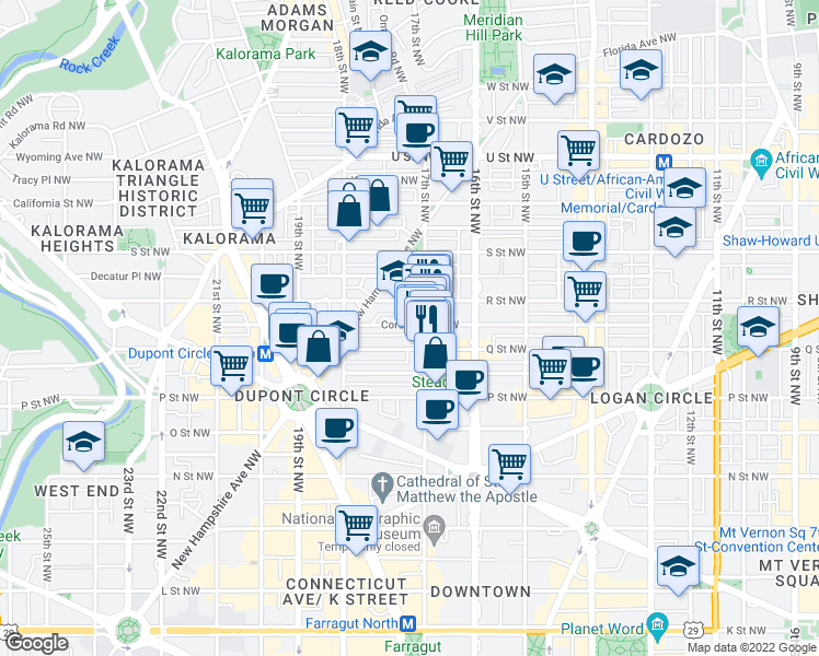 map of restaurants, bars, coffee shops, grocery stores, and more near 1712 Corcoran Street Northwest in Washington