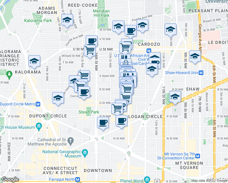 map of restaurants, bars, coffee shops, grocery stores, and more near 1436 R Street Northwest in Washington