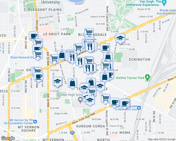 map of restaurants, bars, coffee shops, grocery stores, and more near 102 R Street Northwest in Washington