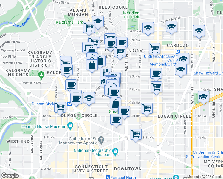 map of restaurants, bars, coffee shops, grocery stores, and more near 1709A 17th Street Northwest in Washington