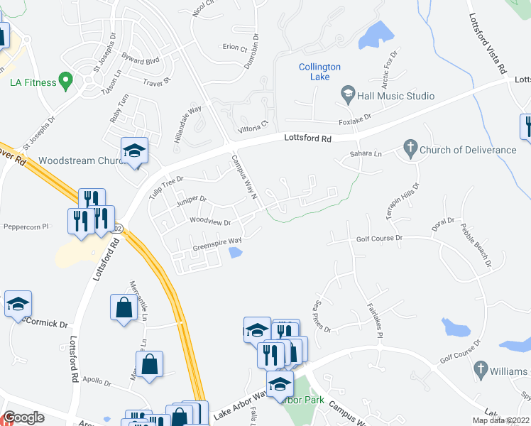 map of restaurants, bars, coffee shops, grocery stores, and more near 10212 Woodview Drive in Bowie