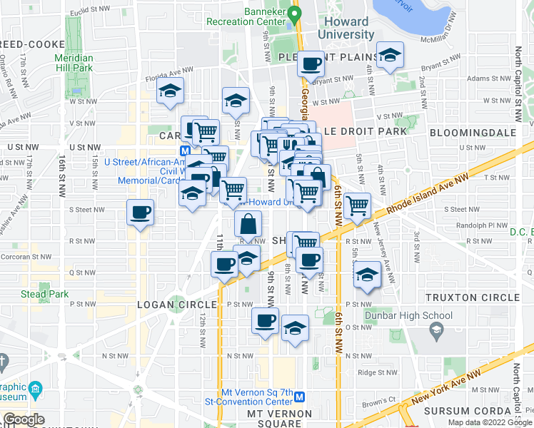 map of restaurants, bars, coffee shops, grocery stores, and more near 902 S Street Northwest in Washington