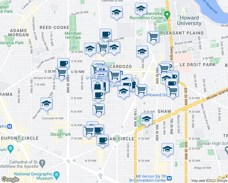 map of restaurants, bars, coffee shops, grocery stores, and more near 1822 13th St NW in Washington