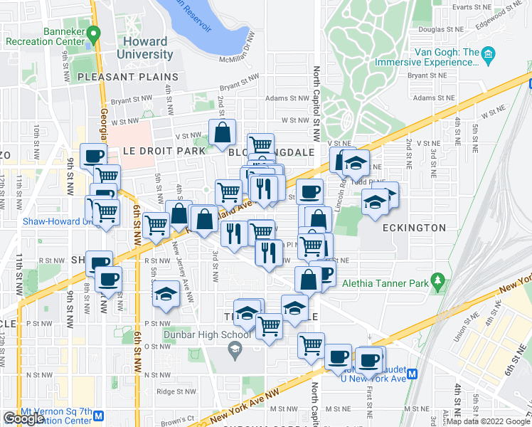 map of restaurants, bars, coffee shops, grocery stores, and more near 1st Street Northwest & Seaton Place Northwest in Washington