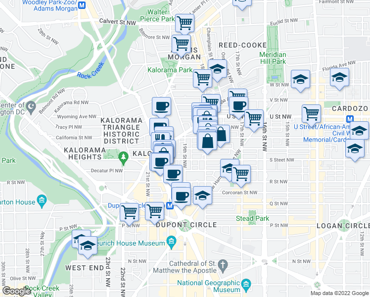 map of restaurants, bars, coffee shops, grocery stores, and more near 19th Street Northwest & Swann Street Northwest in Washington