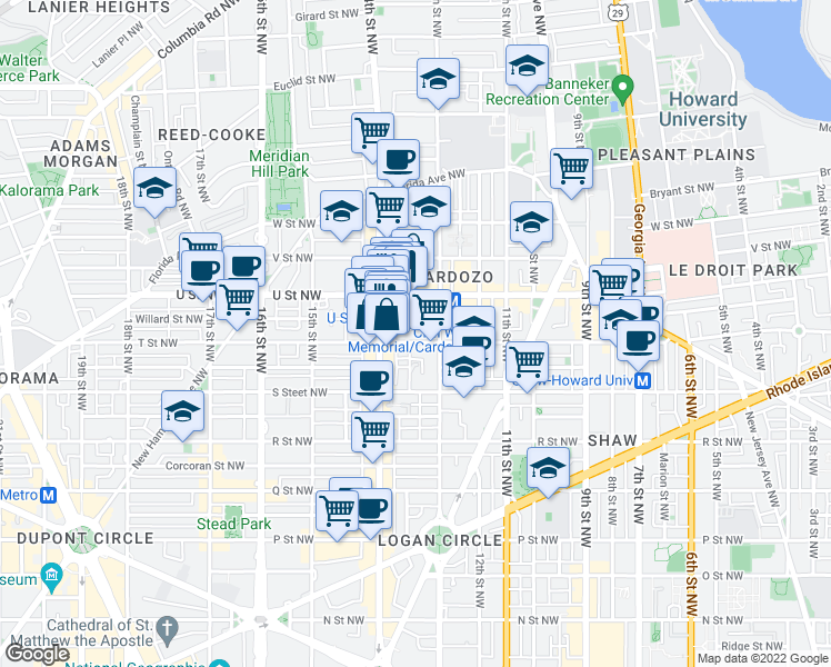 map of restaurants, bars, coffee shops, grocery stores, and more near 1323 T Street Northwest in Washington
