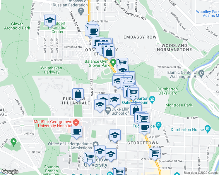 map of restaurants, bars, coffee shops, grocery stores, and more near 35th Place Northwest in Washington