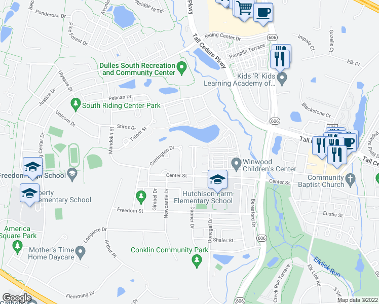 map of restaurants, bars, coffee shops, grocery stores, and more near 25286 McIntyre Square in Chantilly