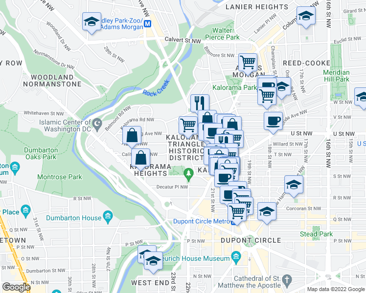map of restaurants, bars, coffee shops, grocery stores, and more near 2205 California Street Northwest in Washington