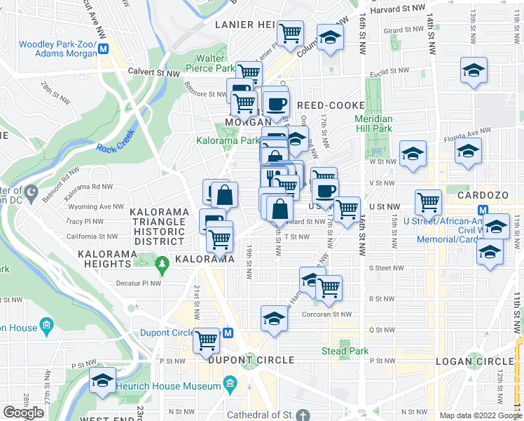 map of restaurants, bars, coffee shops, grocery stores, and more near 1822 Vernon Street Northwest in Washington
