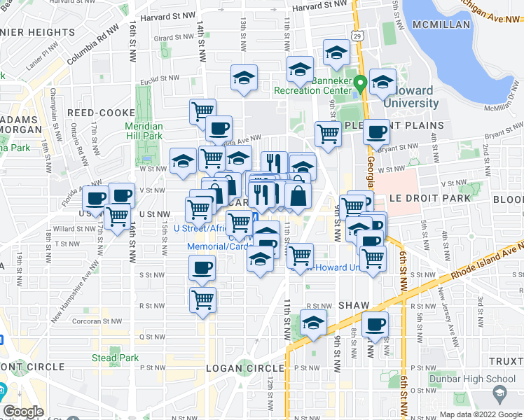 map of restaurants, bars, coffee shops, grocery stores, and more near 1209 U Street Northwest in Washington