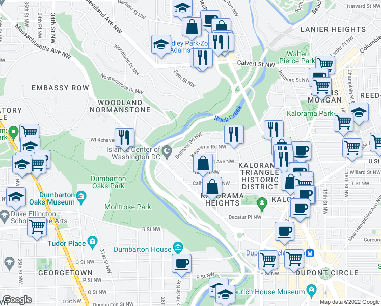 map of restaurants, bars, coffee shops, grocery stores, and more near 2443 Kalorama Rd NW in Washington