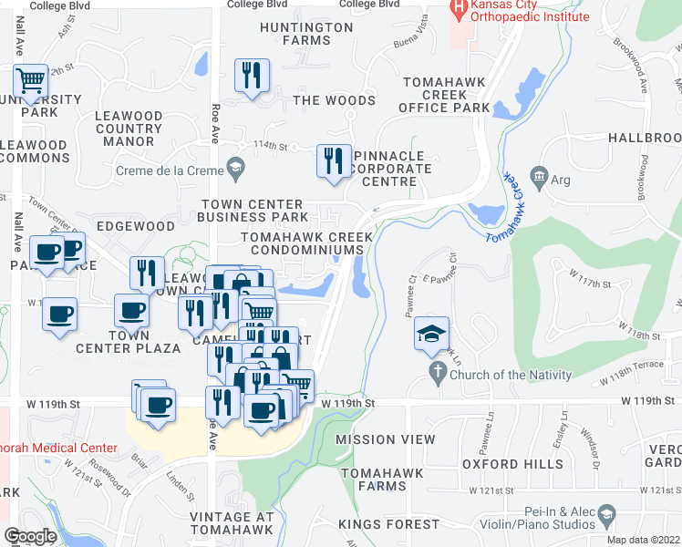 map of restaurants, bars, coffee shops, grocery stores, and more near 11621 Tomahawk Creek Parkway in Leawood