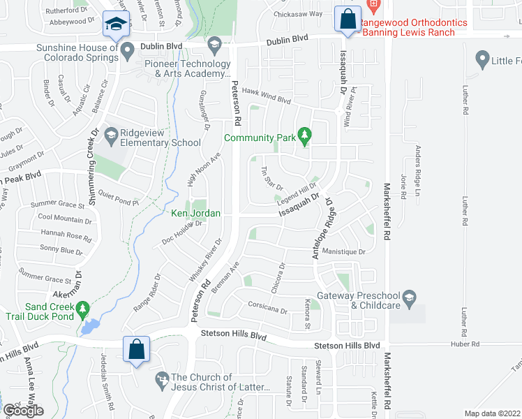 map of restaurants, bars, coffee shops, grocery stores, and more near 7337 Legend Hill Drive in Colorado Springs