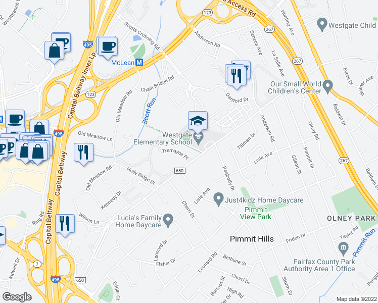 map of restaurants, bars, coffee shops, grocery stores, and more near 7600 Tremayne Place in McLean