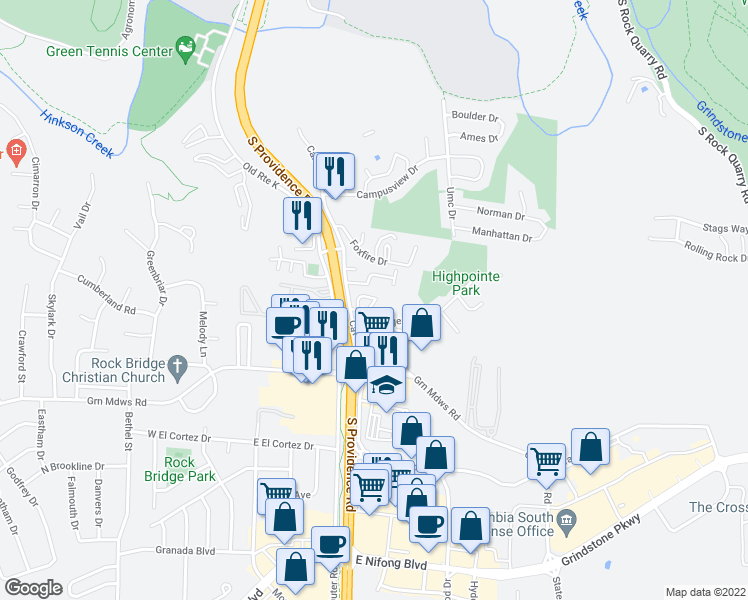 map of restaurants, bars, coffee shops, grocery stores, and more near 2804 Clover Way in Columbia