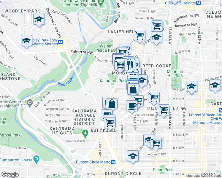 map of restaurants, bars, coffee shops, grocery stores, and more near 2200 19th Street Northwest in Washington