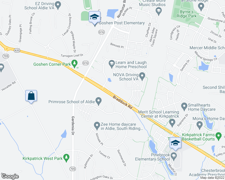 map of restaurants, bars, coffee shops, grocery stores, and more near 41580 Tring Lane in Aldie