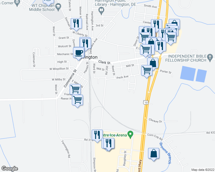 map of restaurants, bars, coffee shops, grocery stores, and more near 112 Road 350 in Harrington