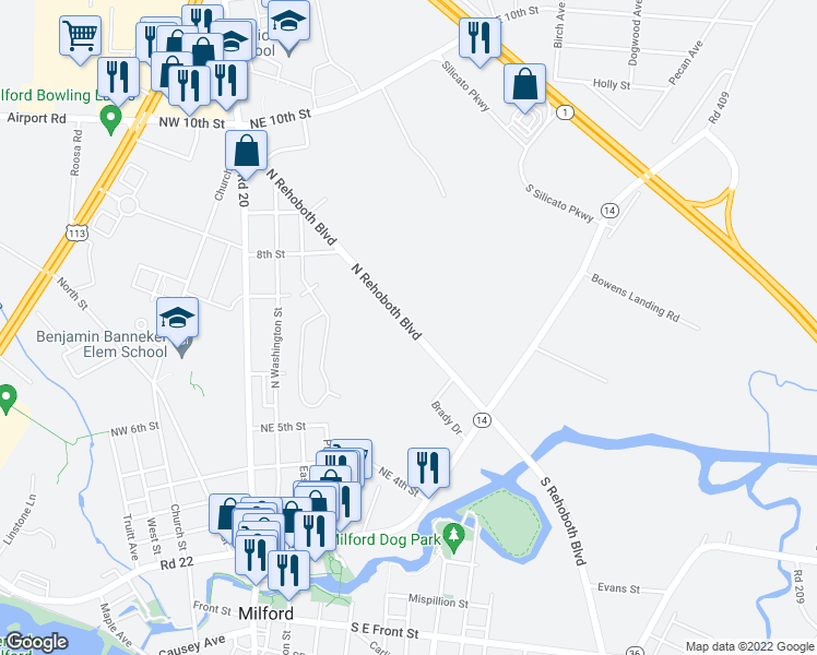 map of restaurants, bars, coffee shops, grocery stores, and more near 249-317 North Rehoboth Boulevard in Milford