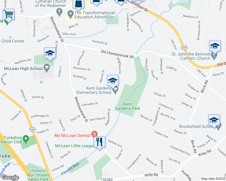 map of restaurants, bars, coffee shops, grocery stores, and more near 1633 Wrightson Drive in McLean