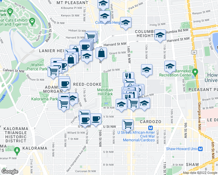map of restaurants, bars, coffee shops, grocery stores, and more near 15th Street Northwest & Chapin Street Northwest in Washington