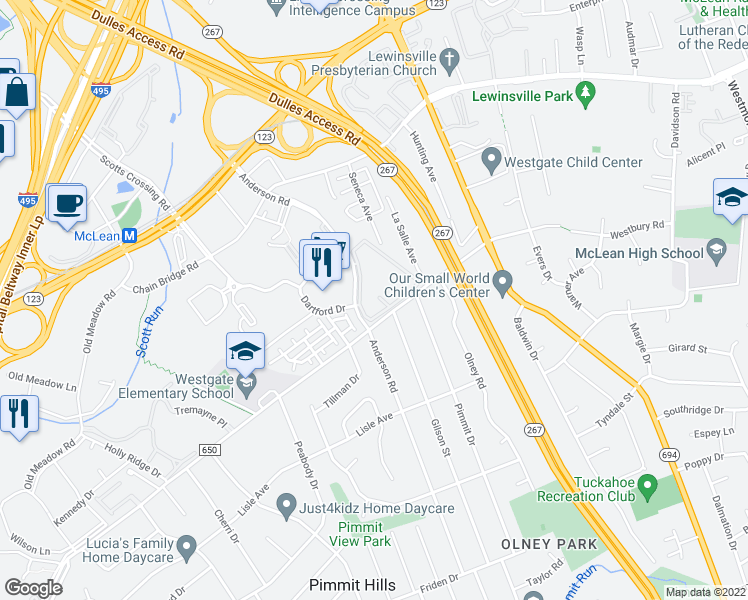 map of restaurants, bars, coffee shops, grocery stores, and more near 1787 Westwind Way in McLean