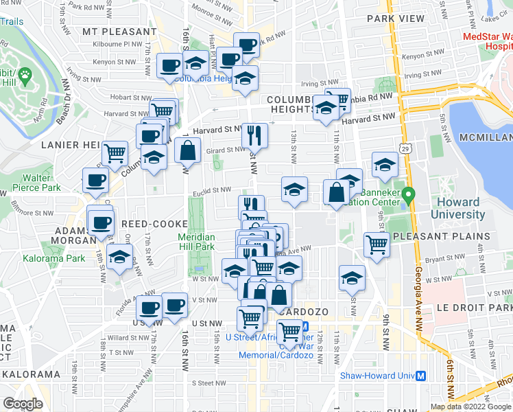map of restaurants, bars, coffee shops, grocery stores, and more near 14th St NW & Clifton St NW in Washington