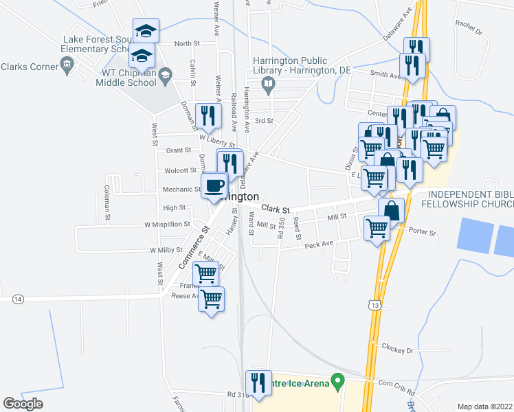 map of restaurants, bars, coffee shops, grocery stores, and more near 14 Delaware 14 in Harrington