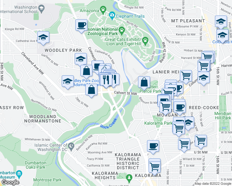 map of restaurants, bars, coffee shops, grocery stores, and more near 2601 Woodley Place Northwest in Washington