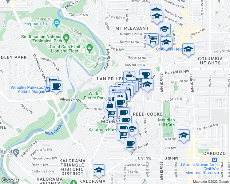 map of restaurants, bars, coffee shops, grocery stores, and more near 1785 Lanier Place Northwest in Washington