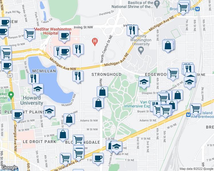 map of restaurants, bars, coffee shops, grocery stores, and more near 17 Evarts Street Northeast in Washington