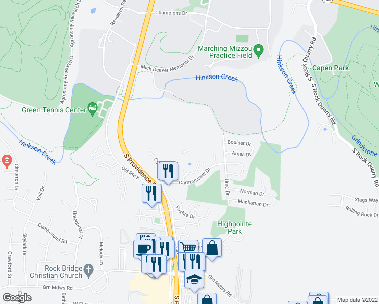 map of restaurants, bars, coffee shops, grocery stores, and more near 2260 Bennett Springs Drive in Columbia
