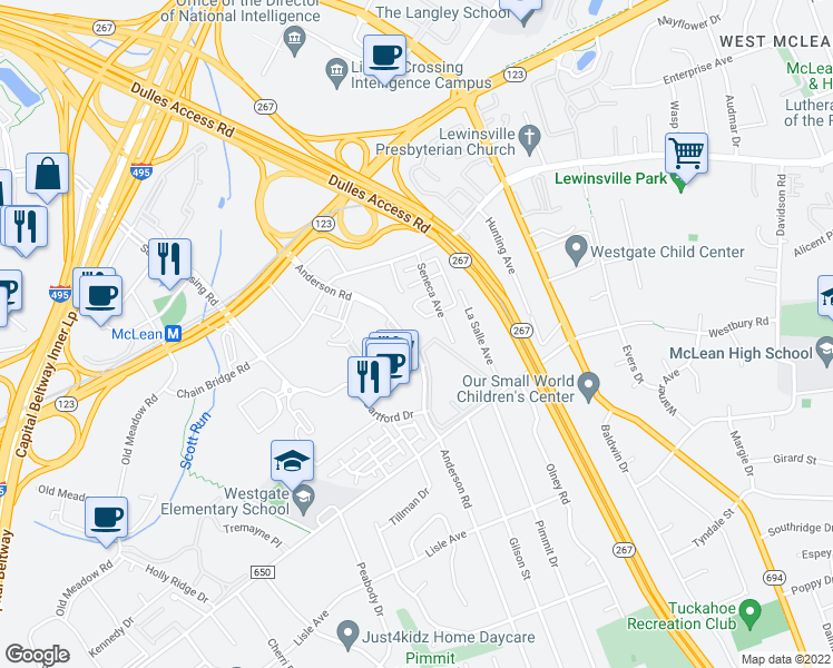 map of restaurants, bars, coffee shops, grocery stores, and more near 1653 Anderson Road in McLean