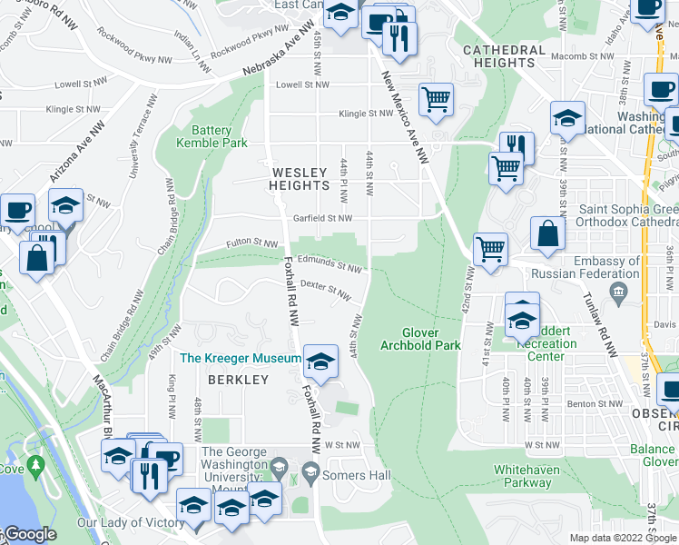 map of restaurants, bars, coffee shops, grocery stores, and more near 4420 Edmunds Street Northwest in Washington