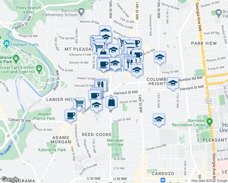 map of restaurants, bars, coffee shops, grocery stores, and more near 2901 16th Street Northwest in Washington
