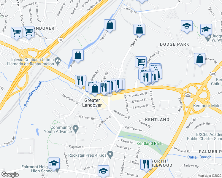 map of restaurants, bars, coffee shops, grocery stores, and more near 7481-7499 Landover Road in Hyattsville