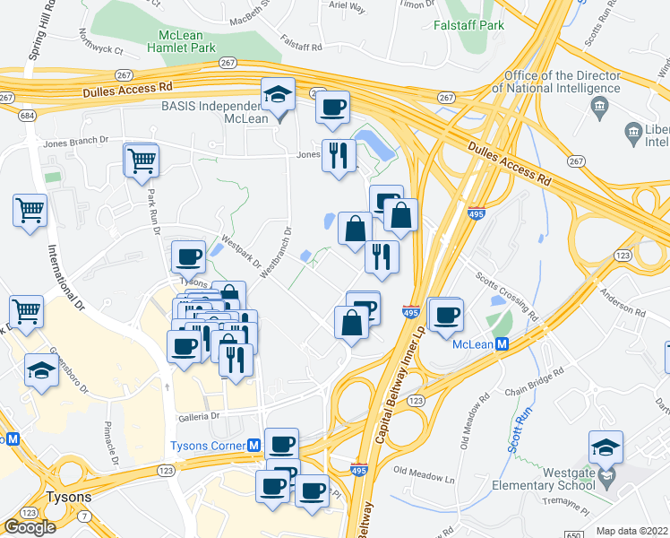 map of restaurants, bars, coffee shops, grocery stores, and more near 7915 Jones Branch Drive in McLean