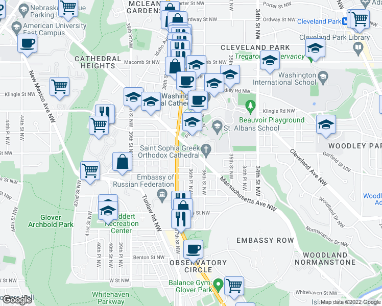 map of restaurants, bars, coffee shops, grocery stores, and more near Angell Street in Washington