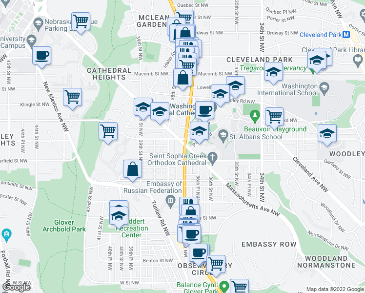 map of restaurants, bars, coffee shops, grocery stores, and more near 3700 Massachusetts Avenue Northwest in Washington