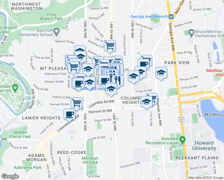 map of restaurants, bars, coffee shops, grocery stores, and more near 14th St NW & Irving St NW in Washington