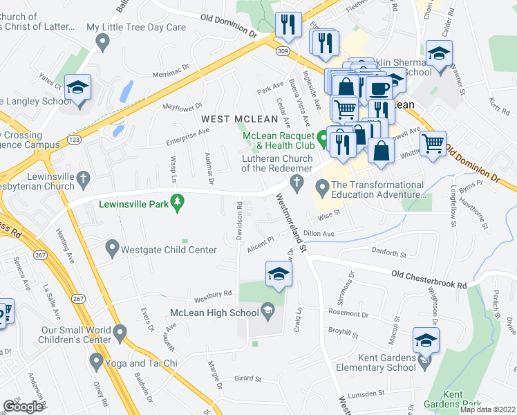 map of restaurants, bars, coffee shops, grocery stores, and more near 1540 Bruton Court in McLean