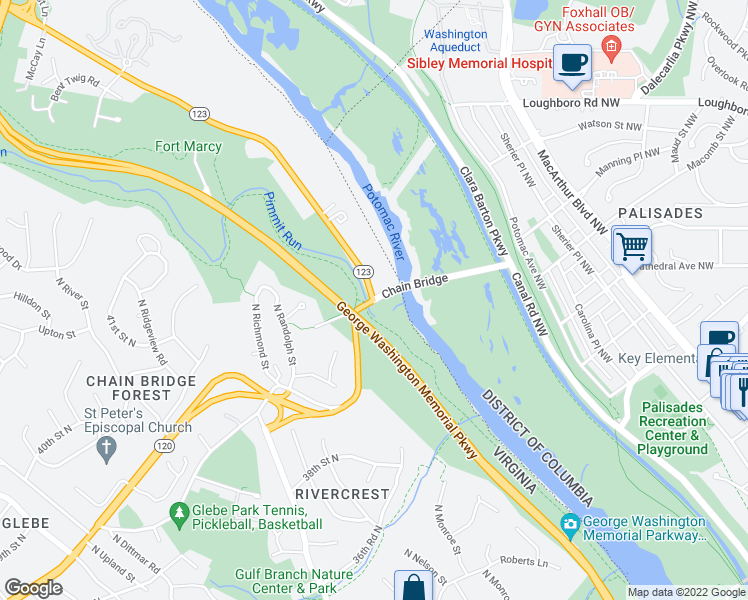 map of restaurants, bars, coffee shops, grocery stores, and more near N Glebe Rd & Chain Bridge Rd in Arlington