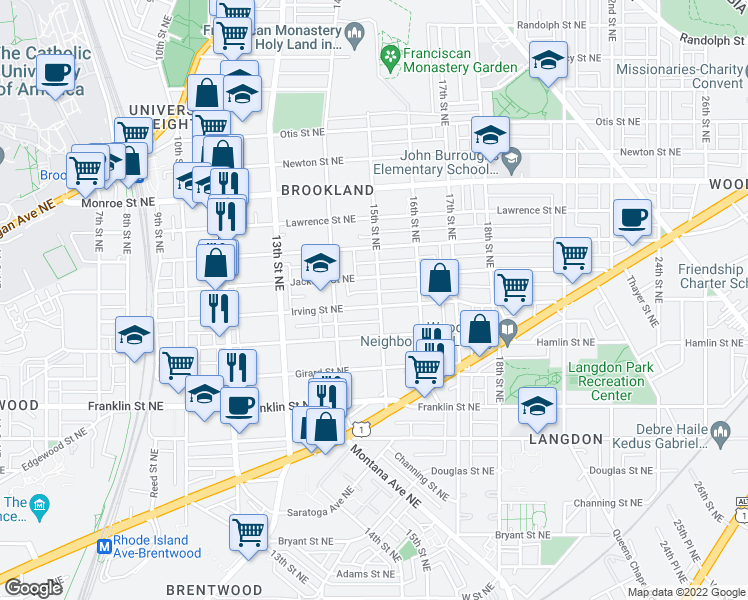 map of restaurants, bars, coffee shops, grocery stores, and more near 1428 Irving St NE in Washington