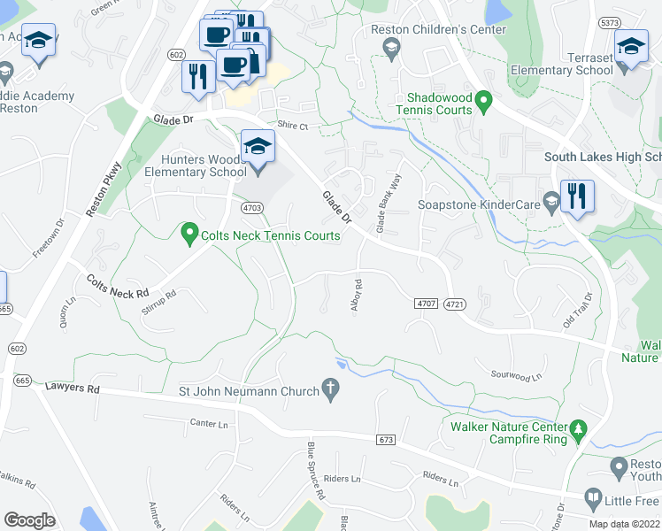map of restaurants, bars, coffee shops, grocery stores, and more near 11904 Triple Crown Road in Reston