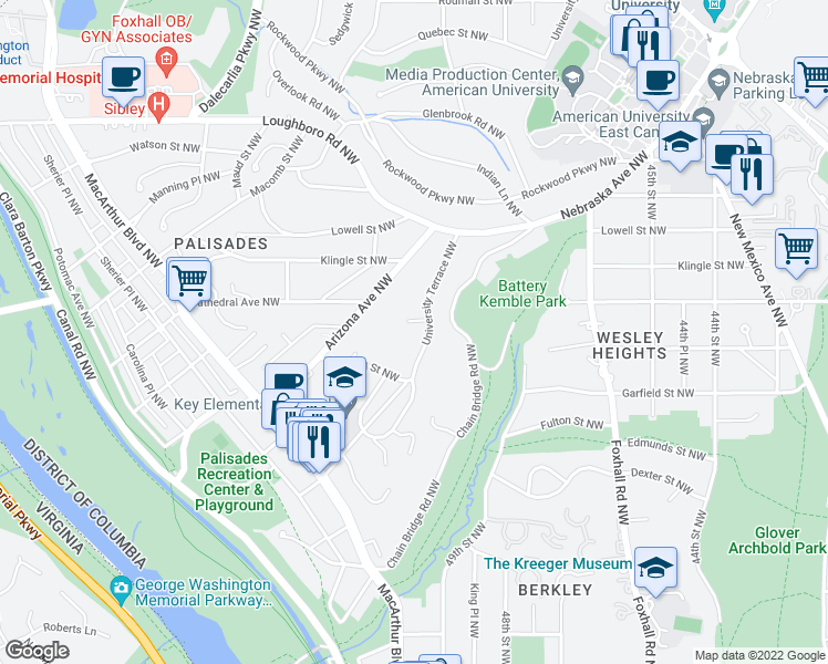 map of restaurants, bars, coffee shops, grocery stores, and more near 2950 University Terrace Northwest in Washington