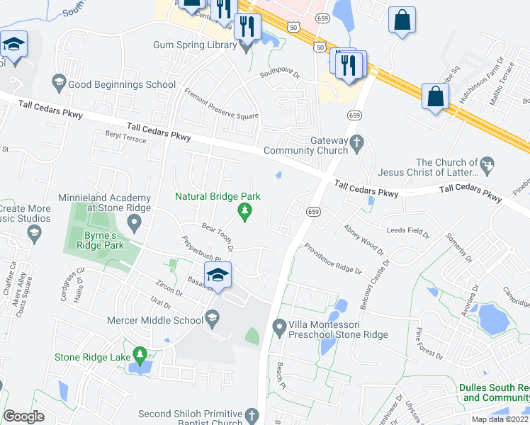 map of restaurants, bars, coffee shops, grocery stores, and more near 24868 Myers Glen Place in Chantilly