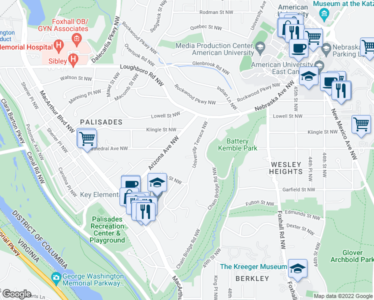 map of restaurants, bars, coffee shops, grocery stores, and more near 3000 University Terrace Northwest in Washington