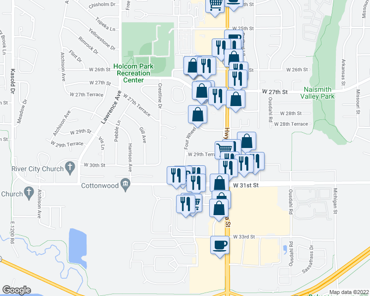 map of restaurants, bars, coffee shops, grocery stores, and more near 2859 4 Wheel Drive in Lawrence